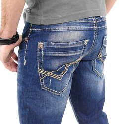 coole m nner jeans mit dicken n hten von cipo baxx im straight fit schnitt farbe blau. Black Bedroom Furniture Sets. Home Design Ideas