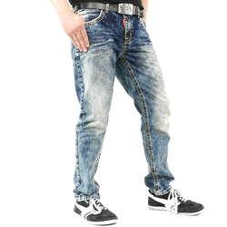 Männer Jeanshose mit Nähten in weiß und orange von Cipo   Baxx im Straight  Fit Schnitt   Farbe  Blau f6d6e3f6a7