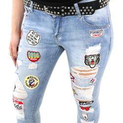Verschiedene Damen Jeans mit Patches von Verschiedenen im Slim Fit Schnitt    Farbe  Blau 6d367e4d50