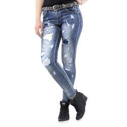 Verschiedene Jeans mit Flicken von Verschiedenen im Slim Fit Schnitt   Farbe   Blau 4cdc069b7a